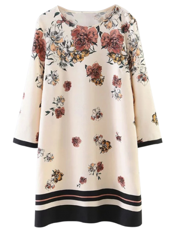 Floral Pattern Shift Dress - LIGHT BEIGE L Mobile
