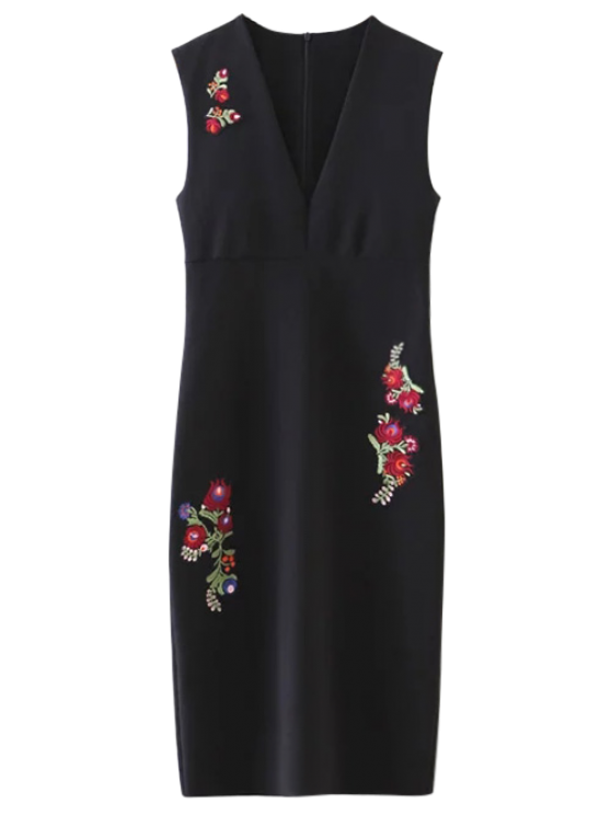 Floral Pattern V Neck Sheath Dress - BLACK M Mobile