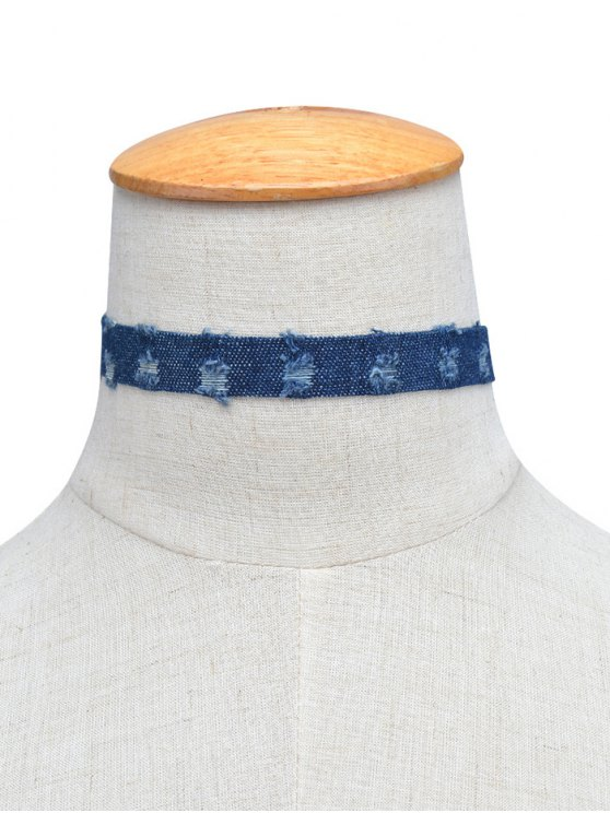 Denim Punk Choker Necklace - DEEP BLUE  Mobile