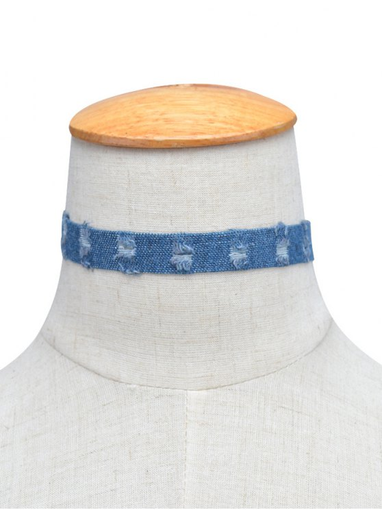 shop Denim Punk Choker Necklace - BLUE