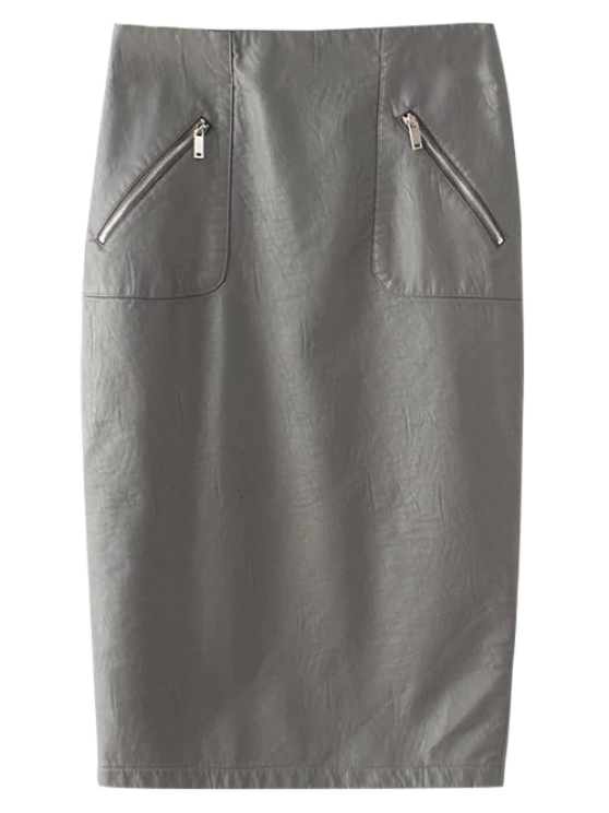 PU Leather Pencil Skirt - GRAY M Mobile