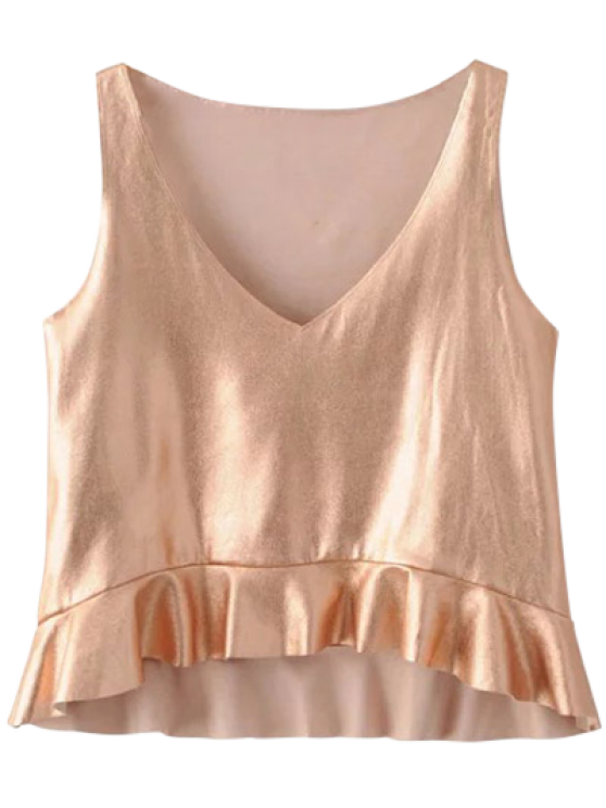 V Neck Flounced Tank Top - ROSE GOLD XS Mobile