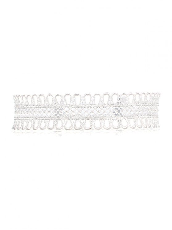 Lace Crochet Choker Necklace - WHITE  Mobile