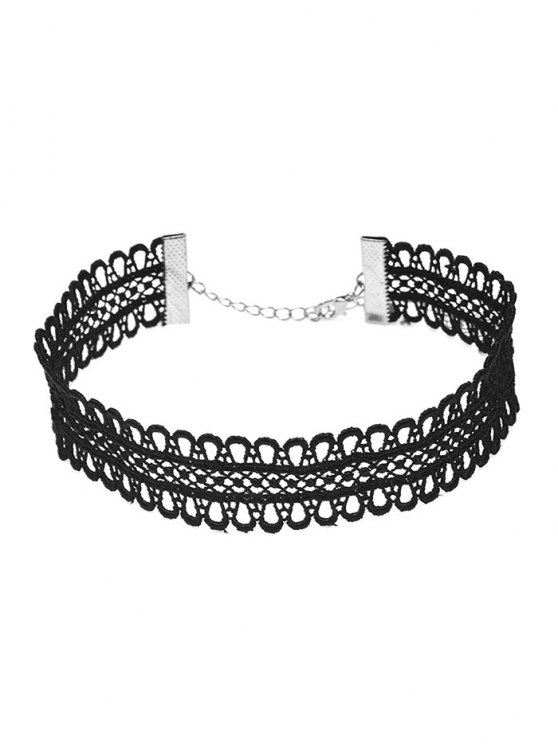 Lace Crochet Choker Necklace - BLACK  Mobile
