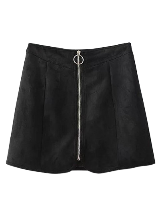 Suede Zippered Mini Skirt - BLACK L Mobile
