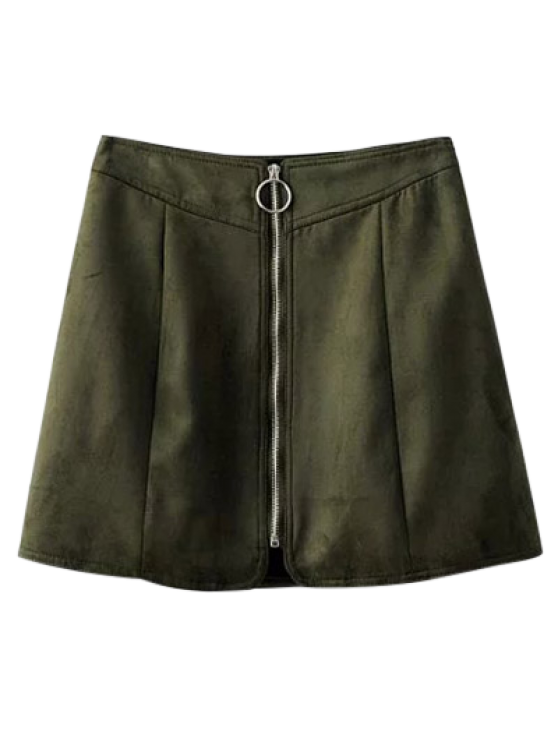 Suede Zippered Mini Skirt - BLACKISH GREEN S Mobile