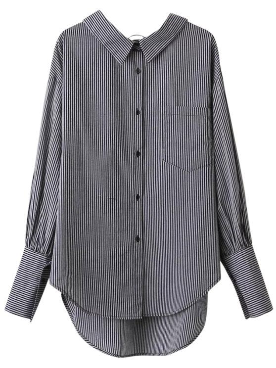 V Back Button Up Striped Shirt - STRIPE M Mobile
