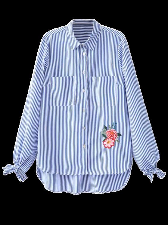 Bordado floral atado camisa rayada - Raya M