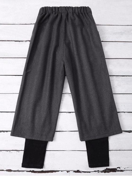 Elastic Waist Layered Wide Leg Pants - DEEP GRAY XL Mobile