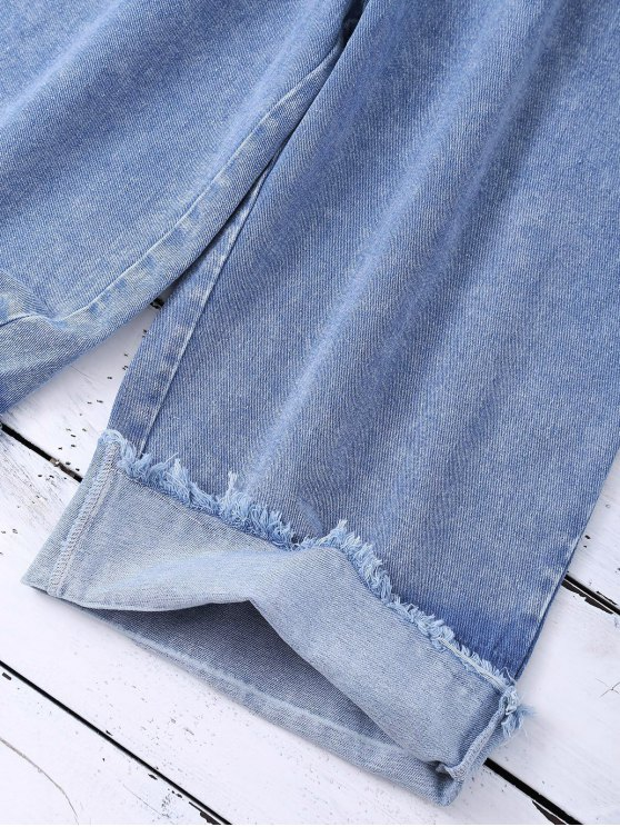 Ombre Wide Leg Jeans - BLUE S Mobile