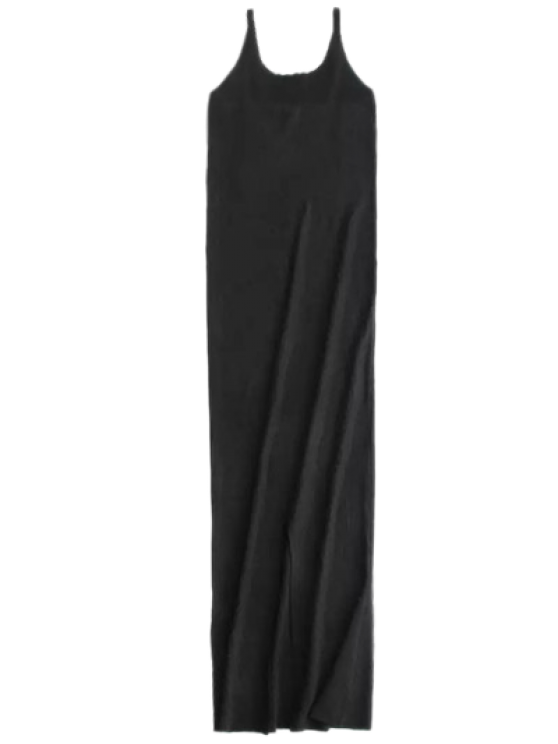 Cami Slit Sweater Dress - BLACK M Mobile