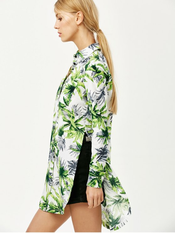 Pocket Coconut Palm Print Shirt - FLORAL S Mobile