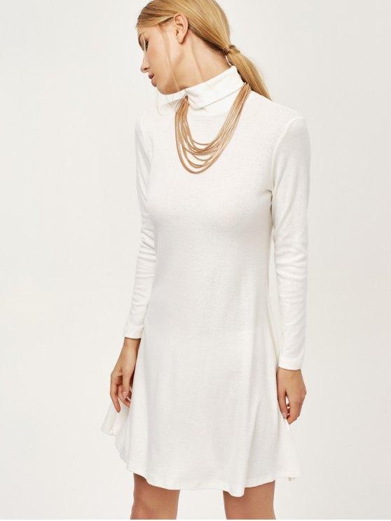 Turtle Neck Mini Swing Dress - WHITE L Mobile