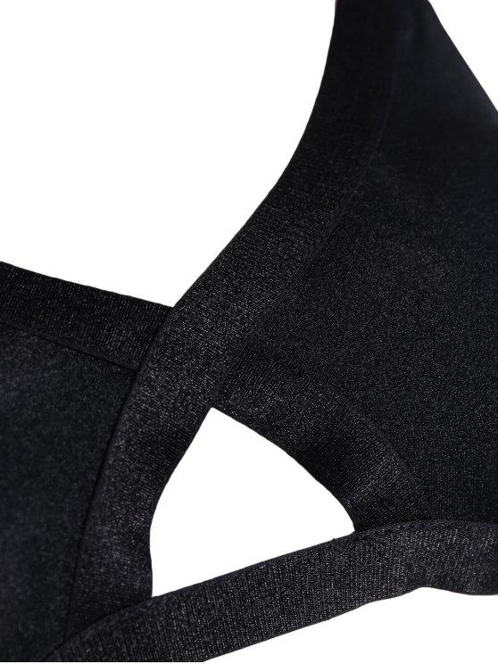 Crosscriss Sports Cut Out Bra Set - BLACK 2XL Mobile