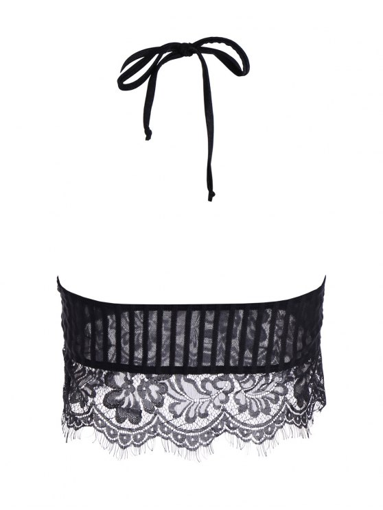 Scalloped Lace Panel Bra - BLACK XL Mobile