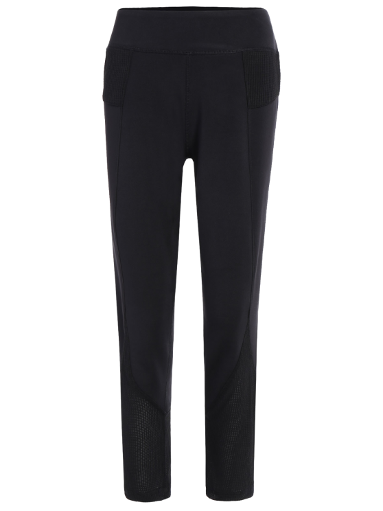 Aplicación de red Capri Leggings - Negro XL