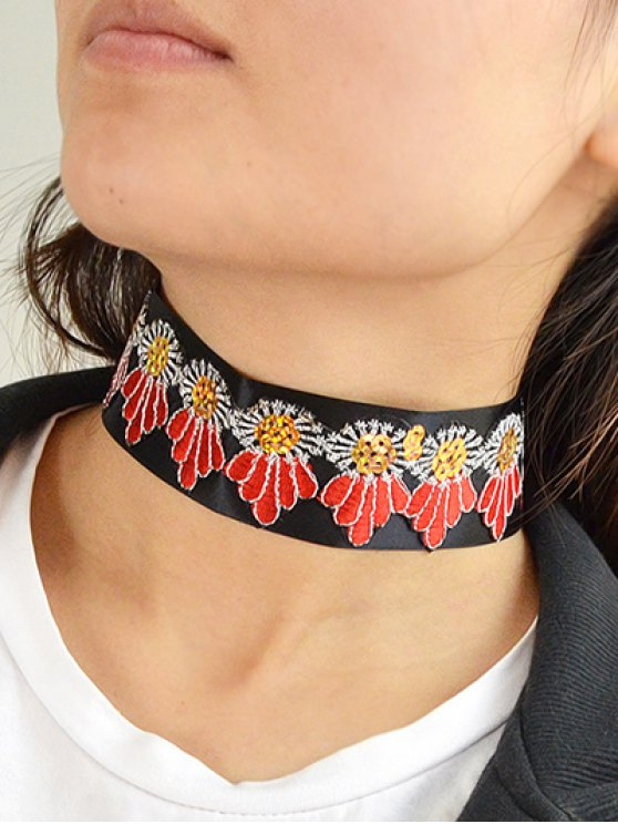 Embroidered Wide Choker -   Mobile