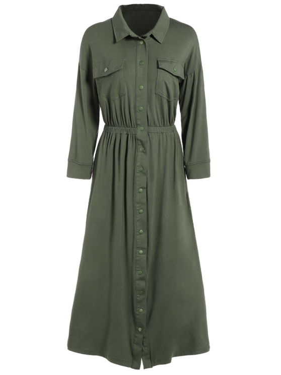 Midi Shirt Military Dress With Pockets - ARMY GREEN XL Mobile