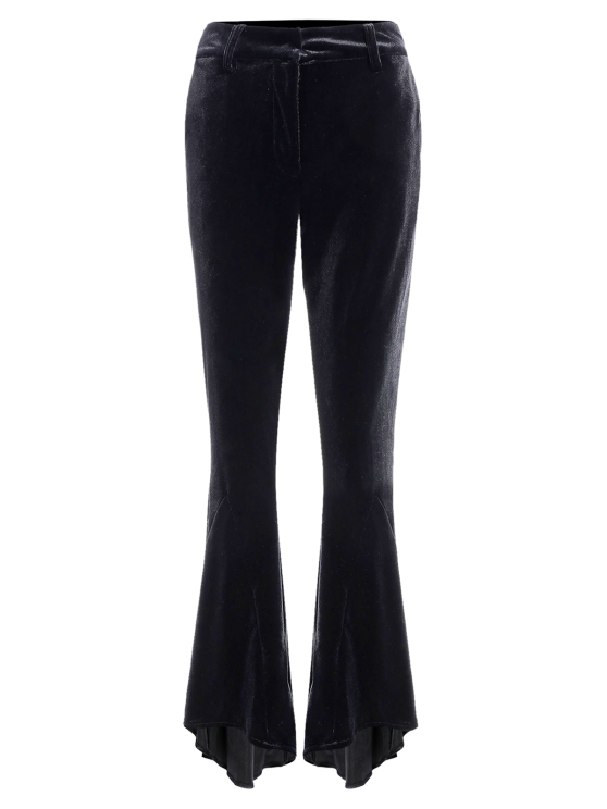 Velvet High Low Boot Cut Pants - BLACK M Mobile