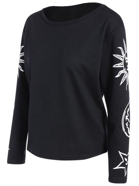 Sun Print Long Sleeve T-Shirt - BLACK L Mobile