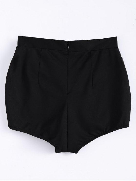 High Waist Beading Shorts - BLACK S Mobile