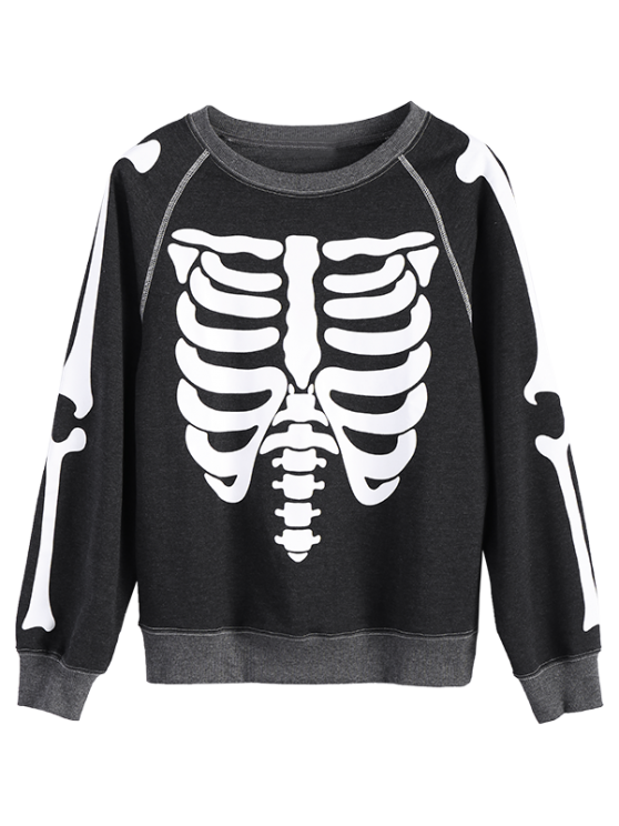 Loose Skeleton Sweatshirt - DEEP GRAY M Mobile