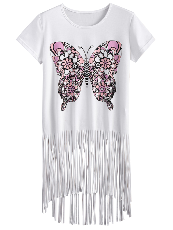 Butterfly Print Fringe T-Shirt - WHITE 2XL Mobile