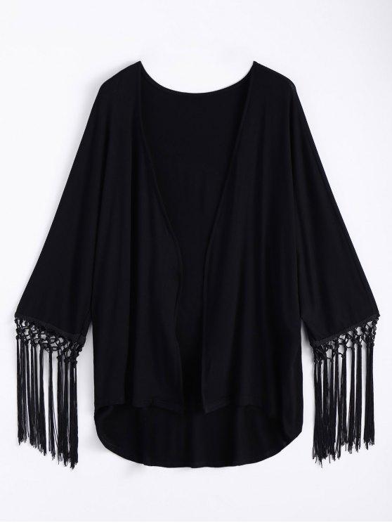 Tassel Moon Print Kimono - BLACK L Mobile