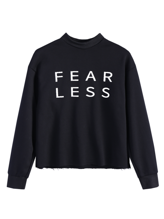 Mock Neck Oversized Letter Print Sweatshirt - BLACK L Mobile