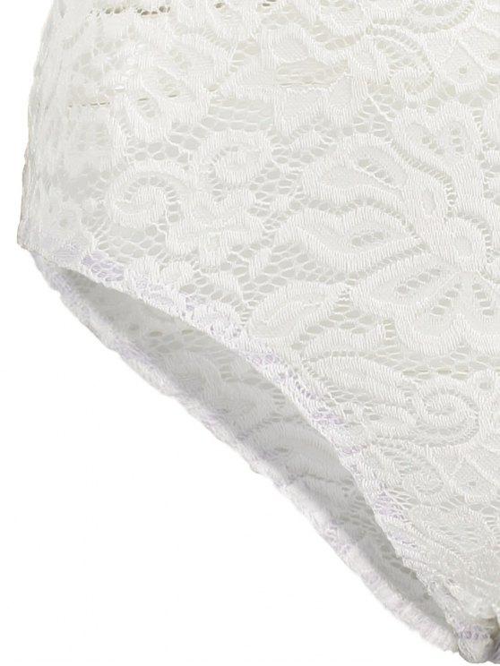 Off Shoulder Flounced Lace Bodysuit - WHITE S Mobile