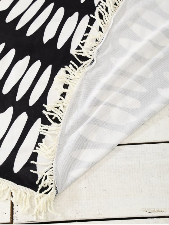 Patterned Tassel Sarong Beach Throw - WHITE AND BLACK ONE SIZE Mobile