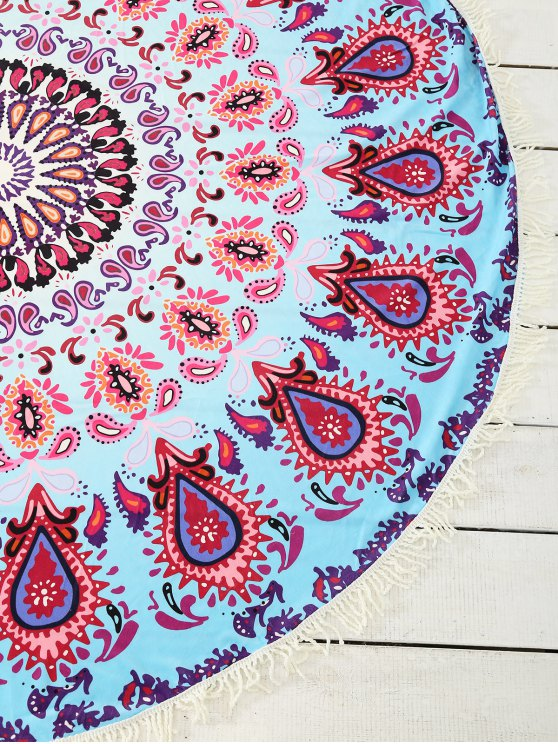 Peacock Print Tassel Sarong Beach Throw - COLORMIX ONE SIZE Mobile