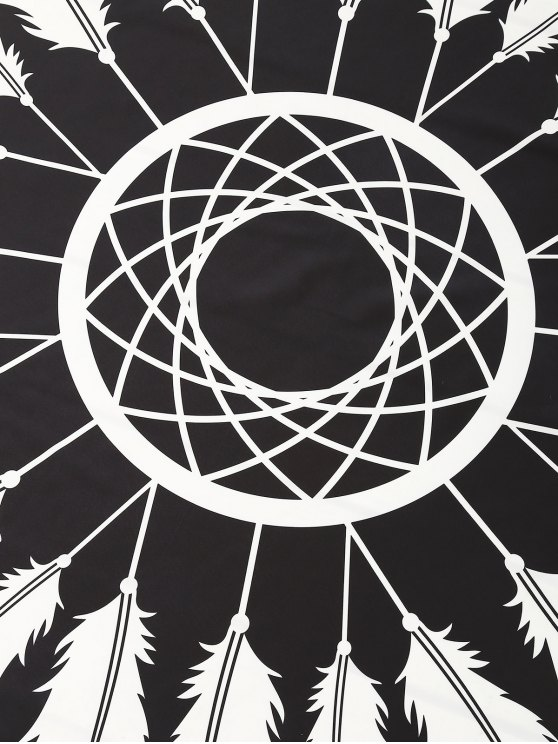 Feather Printed Sarong Beach Throw - BLACK ONE SIZE Mobile