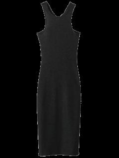 Twist Low Back Pencil Tank Dress - Black S