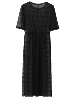 Lace Sheer Midi Dress - Noir S