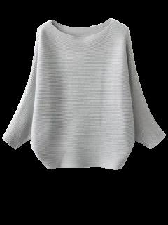 Batwing Sleeve Jumper Knitwear - Light Gray