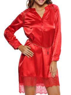 Lace Satin Balted Lounge Dress - Red S