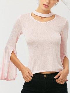 Bell Sleeve Choker Tee - Pink S