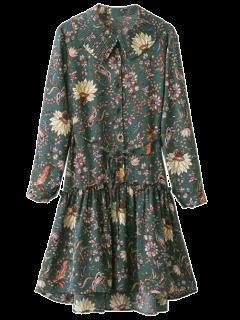 Pleated Collar Printed Drop Waist Shirt Dress - Army Green