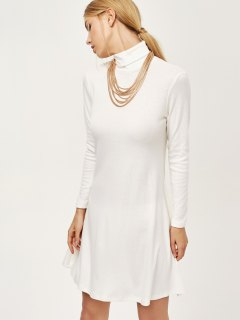 Turtle Neck Mini Swing Dress - White M