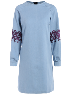Embroidered Sleeve Denim Tunic Dress - Light Blue L