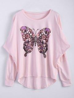 T-shirt Long à Col Bas Et Imprimé De Papillon - Rose PÂle S