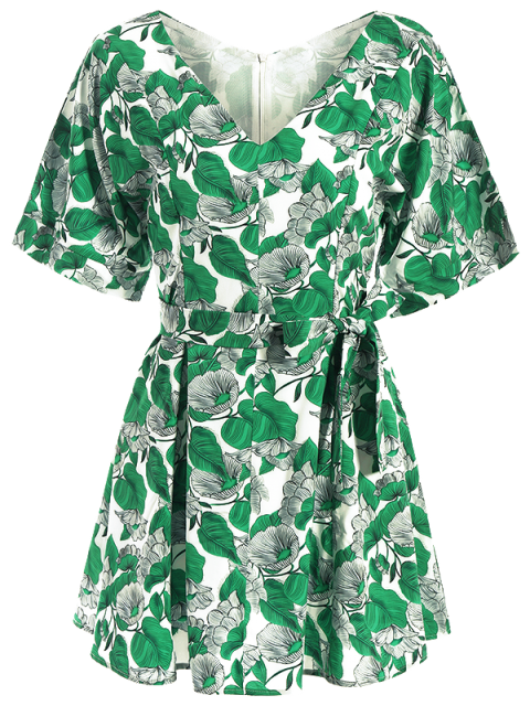 best Leaves Print Belted A-Line Dress - GREEN 2XL Mobile