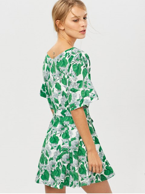 outfits Leaves Print Belted A-Line Dress - GREEN XS Mobile