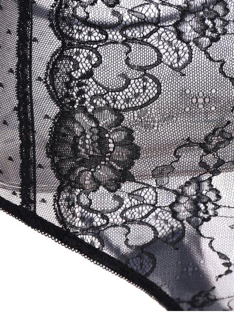 sale Lace Panel See-Through Bodysuit - BLACK 2XL Mobile