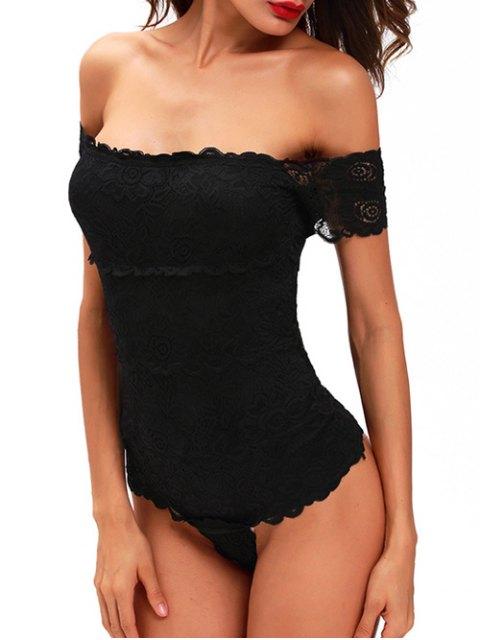 sale Lace Off The Shoulder Bodysuit - BLACK S Mobile