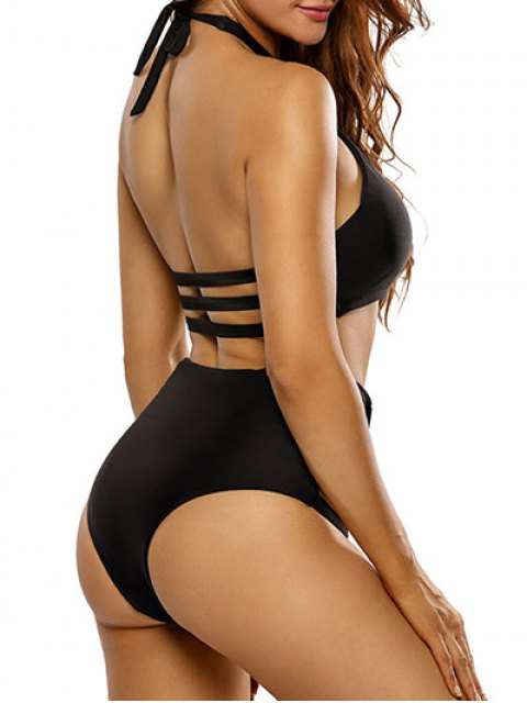 ladies Crosscriss Cut Out High Waisted Bikini Set - BLACK XL Mobile