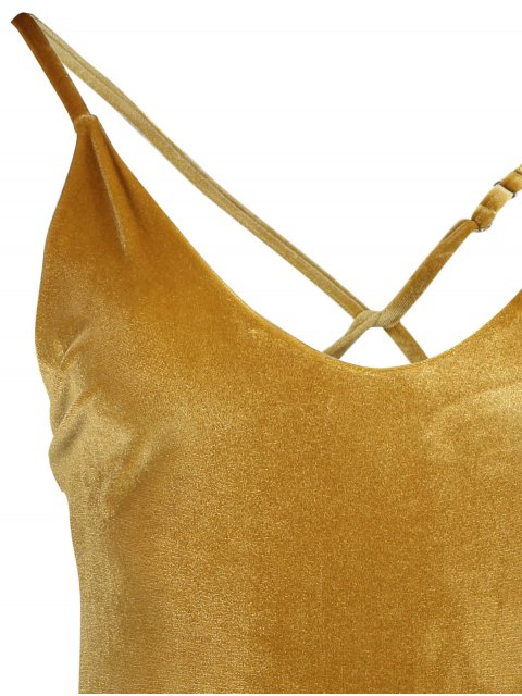 women's Reversible Cross Back Pleuche Swimwear - GOLD BROWN S Mobile