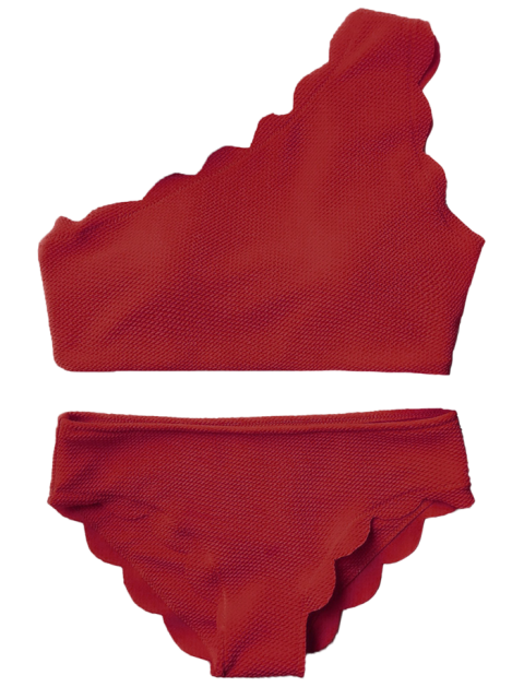 affordable Wireless Scalloped One Shoulder Bathing Suit - BURGUNDY L Mobile