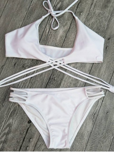 best Strappy Cutout Lace-Up Bikini Set - WHITE S Mobile